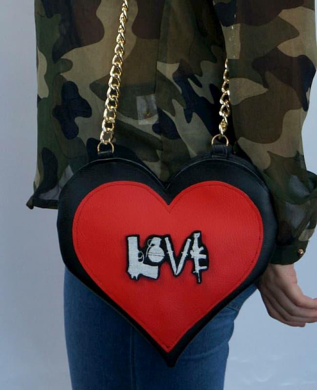 Borsa cuore scritta toppa love toppe personalizzate