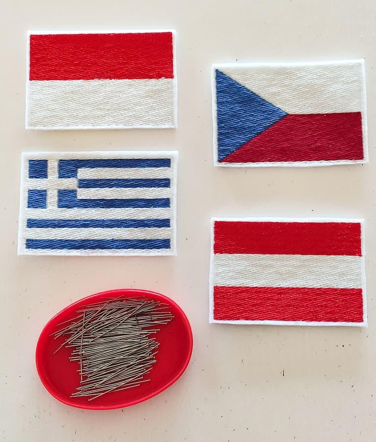 Toppe bandiera Monaco Repubblica Ceca Austria Grecia toppe top